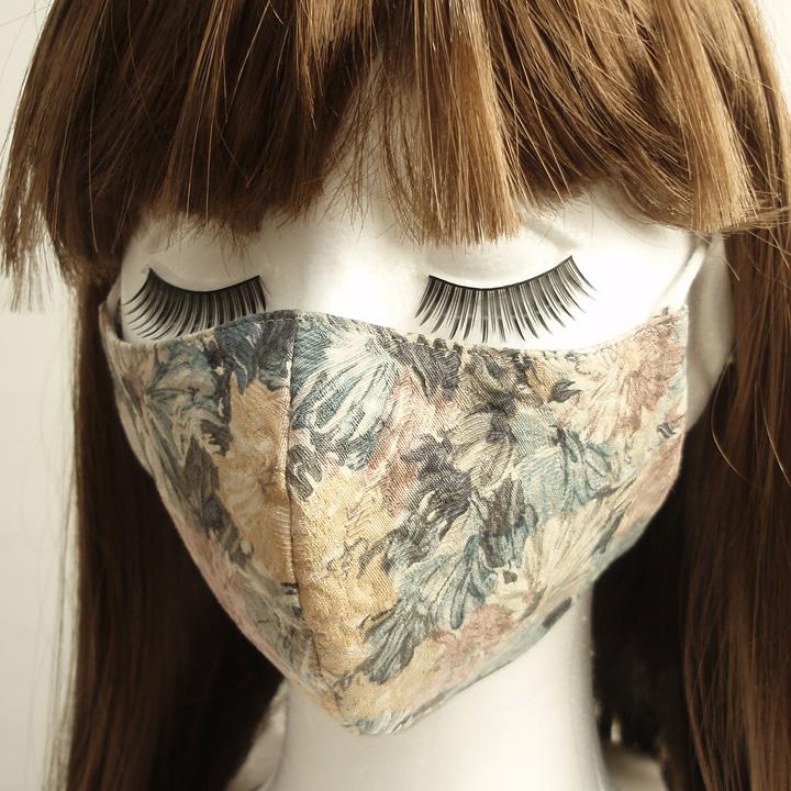 布マスク ベージュ花柄